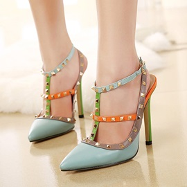 Rivet T-Shaped Buckle Stiletto Heel Strappy Women's Sandals
