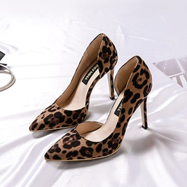 Leopard Print Pointed Toe Stiletto Heel Slip-On Women's Pumps