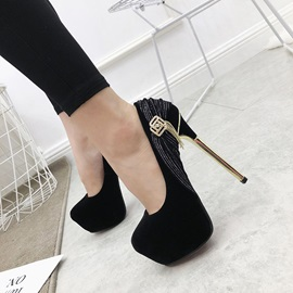 Stiletto Heel Slip-On Round Toe Women's Pumps