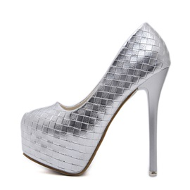 PU Platform Round Toe Stiletto Heel Pumps