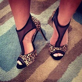 Leopard Print Peep Toe Zipper Stiletto Heel Women's Sandals
