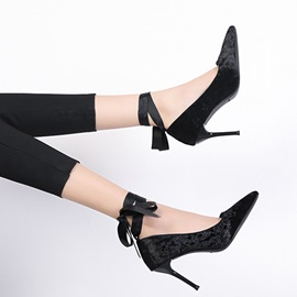 Stiletto Heel Ribbon Pointed Toe Elegant Women's Pumps