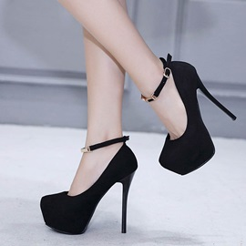 Round Toe Thread Buckle Platform Pumps