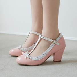 Round Toe T-Shaped Buckle Chunky Heel Mary Jane