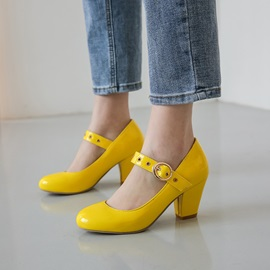 Buckle Chunky Heel Round Toe Plain Mary Jane Pumps