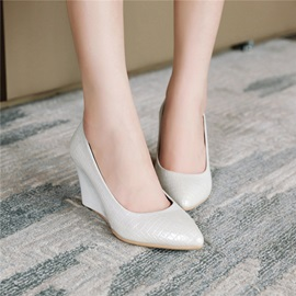 Wedge Heel Slip-On Pointed Toe Pumps