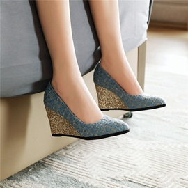 Pointed Toe Slip-On Wedge Heel Glitter Pumps