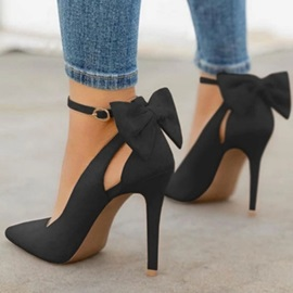 Buckle Pointed Toe Hollow Plain Thin Shoes