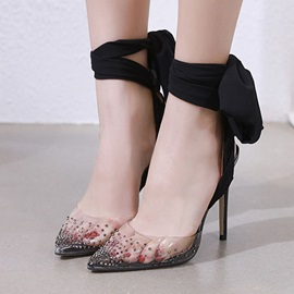 Pointed Toe Stiletto Heel Rhinestone Western Thin Shoes