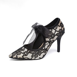 Pointed Toe Stiletto Heel Lace Professional Thin Shoes