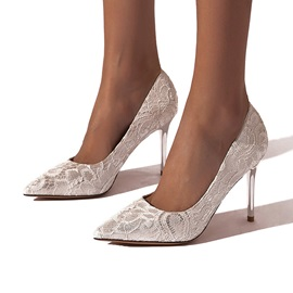 Lace Stiletto Heel Pointed Toe Plain Thin Shoes