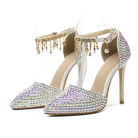 Wedding Shoes Stiletto Heel Buckle Pointed Toe Sexy Thin Shoes