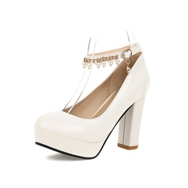 Chunky Heel Beads Round Toe Simple Thin Shoes