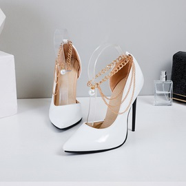 Chain Pointed Toe Line-Style Buckle Plain Thin Shoes