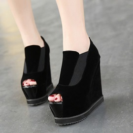Black Peep-Toe Women's Wedges