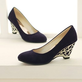 Decorative Heel Round Toe Wedges