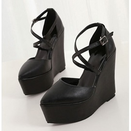 Black Pointed Toe Cross Strap Wedges