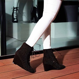 Rhinestone Suede Lace-Up Wedge Boots