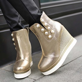 Studded Round Toe Slip-On Wedge Boots
