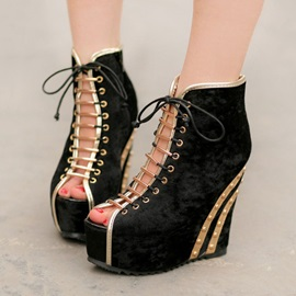 Suede Peep-Toe Lace-Up Wedges