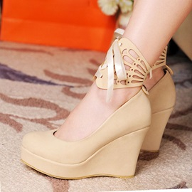 Solid Color PU Cut-Out Wedges