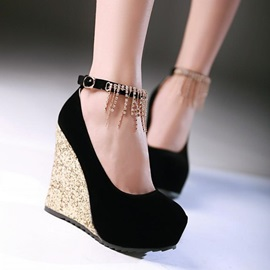 Sequins Ankle Strap Suede Wedges