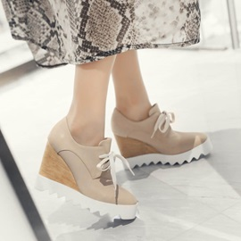 PU Round Toe Lace-Up Wedges