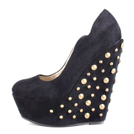 Suede Studded Slip-On Wedges