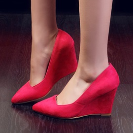 Solid Color Suede Pointed Toe Wedges