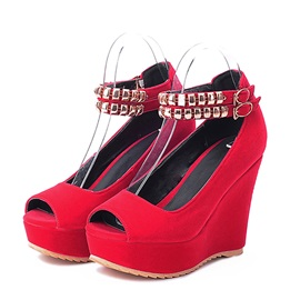 Beading Suede Peep-Toe Wedges Plus Size Avilable