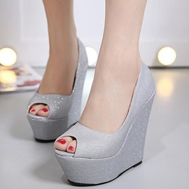 PU Slip-On Platform Wedge Heel Women's Shoes