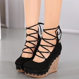 PU Lace-Up Platform Women's Wedge Sandals