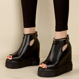 PU Zipper Black Hollow Platform Women's Wedge Shoes
