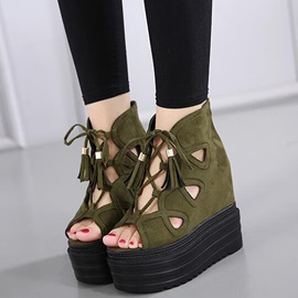 PU Cross Strap Hollow Platform Women's Wedge Shoes