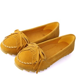 Soft Cowhide Closed-Toe Bowknot Tassel Flats