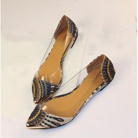 Peacock Texture Transparency Metal Point Toe Flats