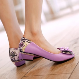 Cute Bowknot Decorated Print Patchwork Flats