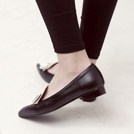 Contrast Color & Bowknot Pointed Toe Flats