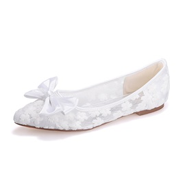 Sweet Style Solid Color Lace Pointed Toe Flats