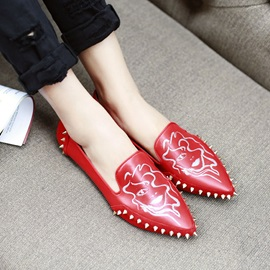Pointed Toe Printed Women's Flats