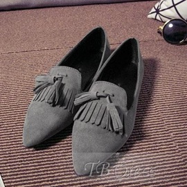 Tassels Suede Pointed Toe Flats