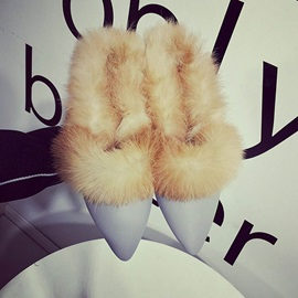 Faux Fur Pointed Toe Slip-On Flats