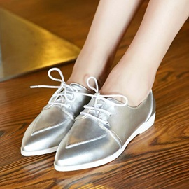 Solid Color PU Pointed Toe Lace-Up Flats