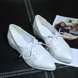 PU Hollow Pointed Toe Lace-Up Flats