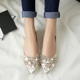 Crystal PU Slip-On Flats
