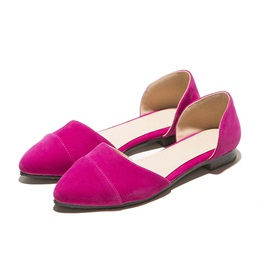Solid Color Suede Round Toe Flats