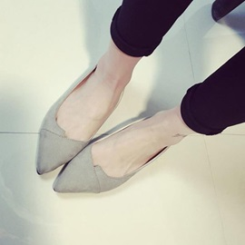 Nubuck Leather Pointed Toe Sweet Women's Flats