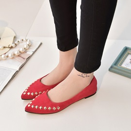 Solid Color Rivets Pointed Toe Flats