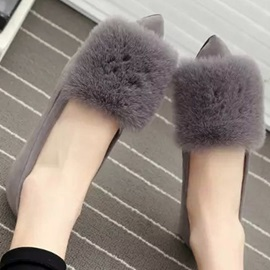 Faux Fur Pointed Toe Flats