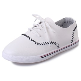 PU Lace-Up Thread Plain Round Toe Sneakers